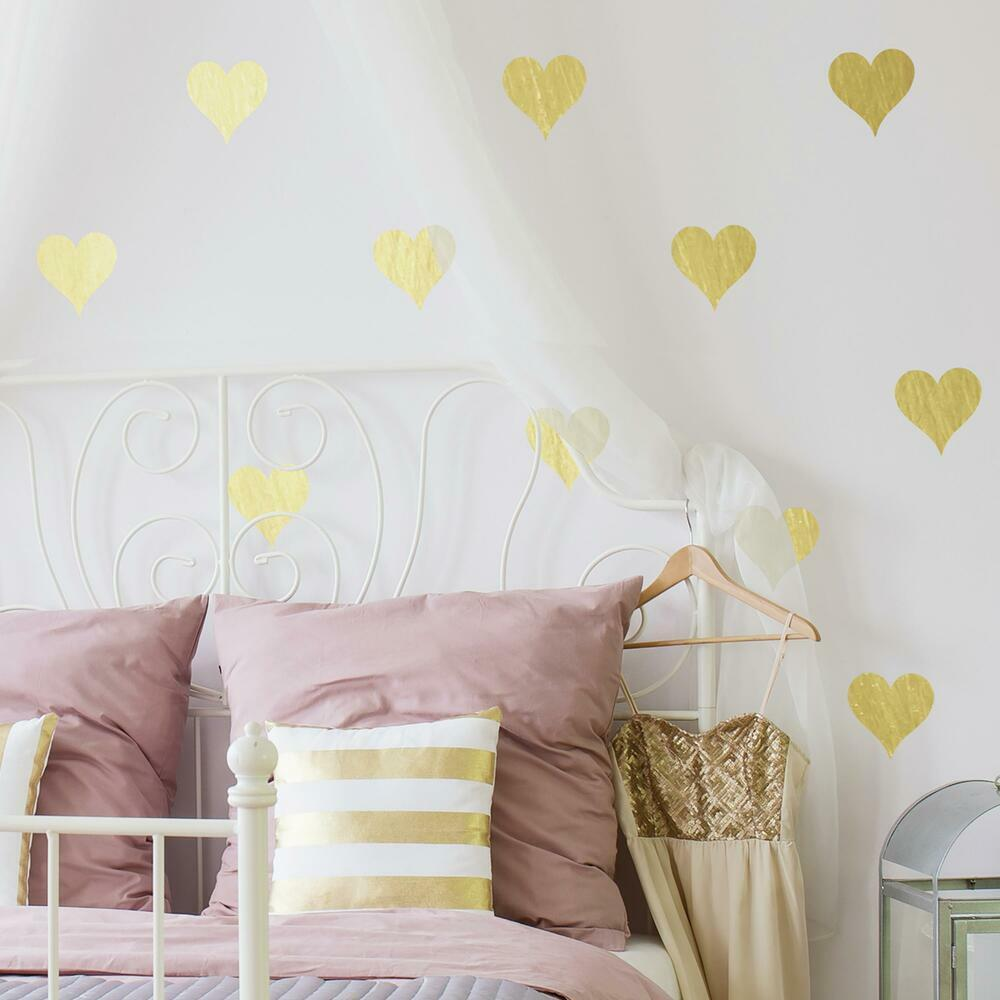 GOLD FOIL HEARTS PEEL AND STICK WALL DECALS