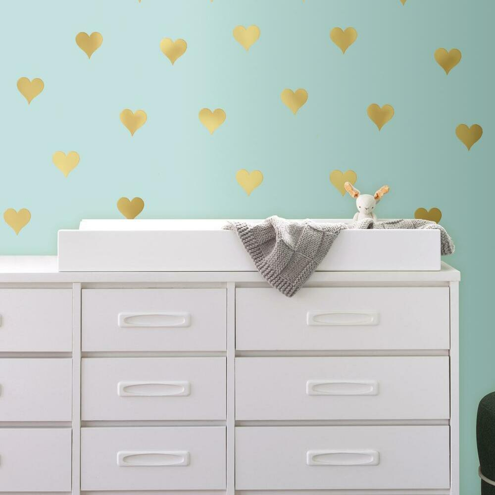GOLD FOIL HEARTS PEEL AND STICK WALL DECALS perfect for bedrooms and more
