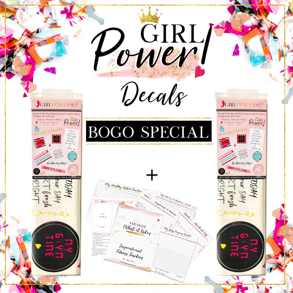 BOGO DEAL Girl Power 24/7™ Motivational, Inspirational Quotes and Affirmations Peel & Stick Reusable Wall Decals with Glitter