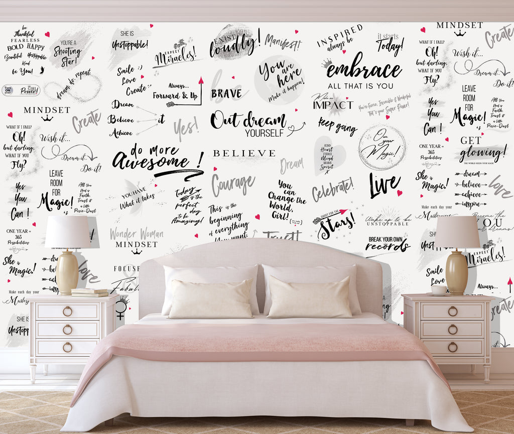 Girl Power 24/7 Motivational Wallpaper - Be Unstoppable Bedroom Décor with Empowering Quotes  Affirmations for Women