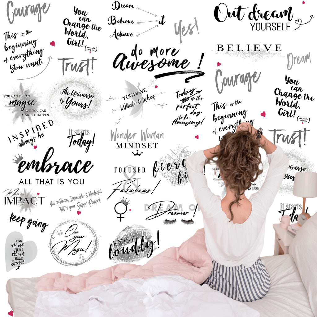 Girl Power 24/7 Motivational Wallpaper - Be Unstoppable Bedroom Dorm Décor with Quotes and Affirmations for Women