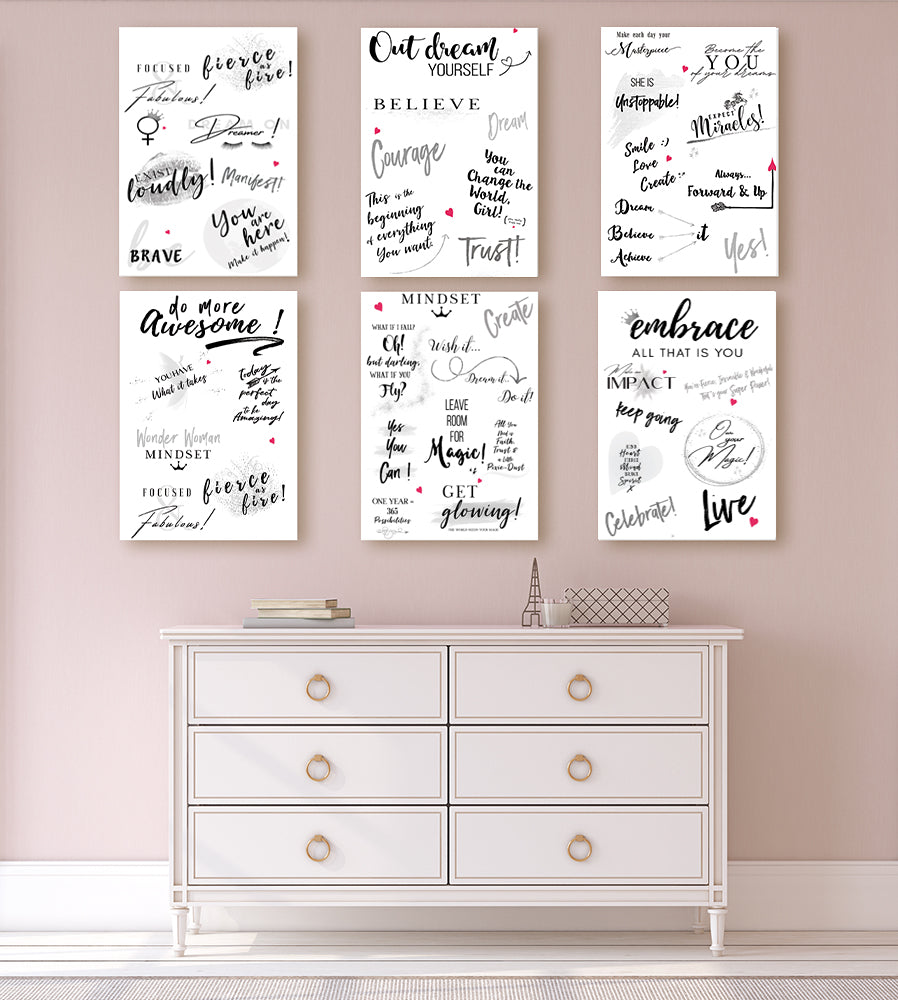 Girl Power 24/7 - Motivational Wallpaper - Be Unstoppable Home DIY Inspirational Décor with Quotes and Affirmations for Women