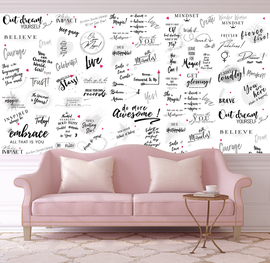 Girl Power 24/7 Motivational Wallpaper - Be Unstoppable Home  Décor with Quotes and Affirmations for Women