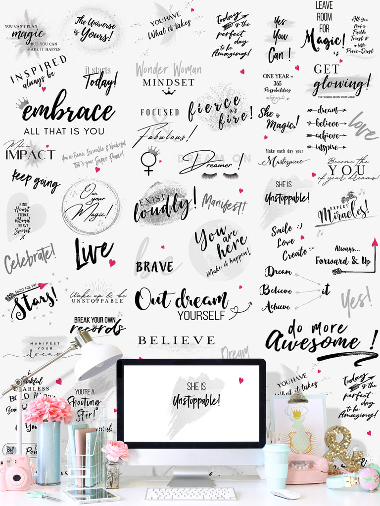 Girl Power 24/7 Motivational Wallpaper -  Be Unstoppable  Office Décor with Inspirational Quotes and Affirmations for Women