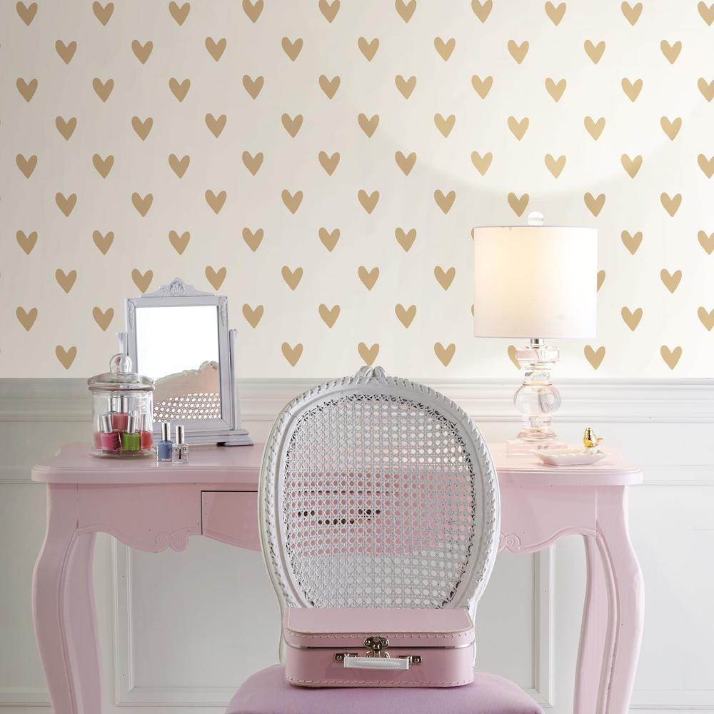 Gold heart peel and stick wallpaper for girl  bedrooms