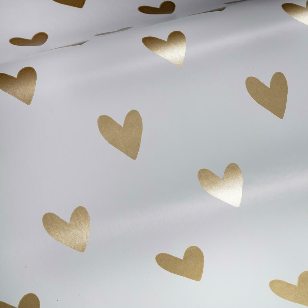 Gold hearts peel and stick wallpaper