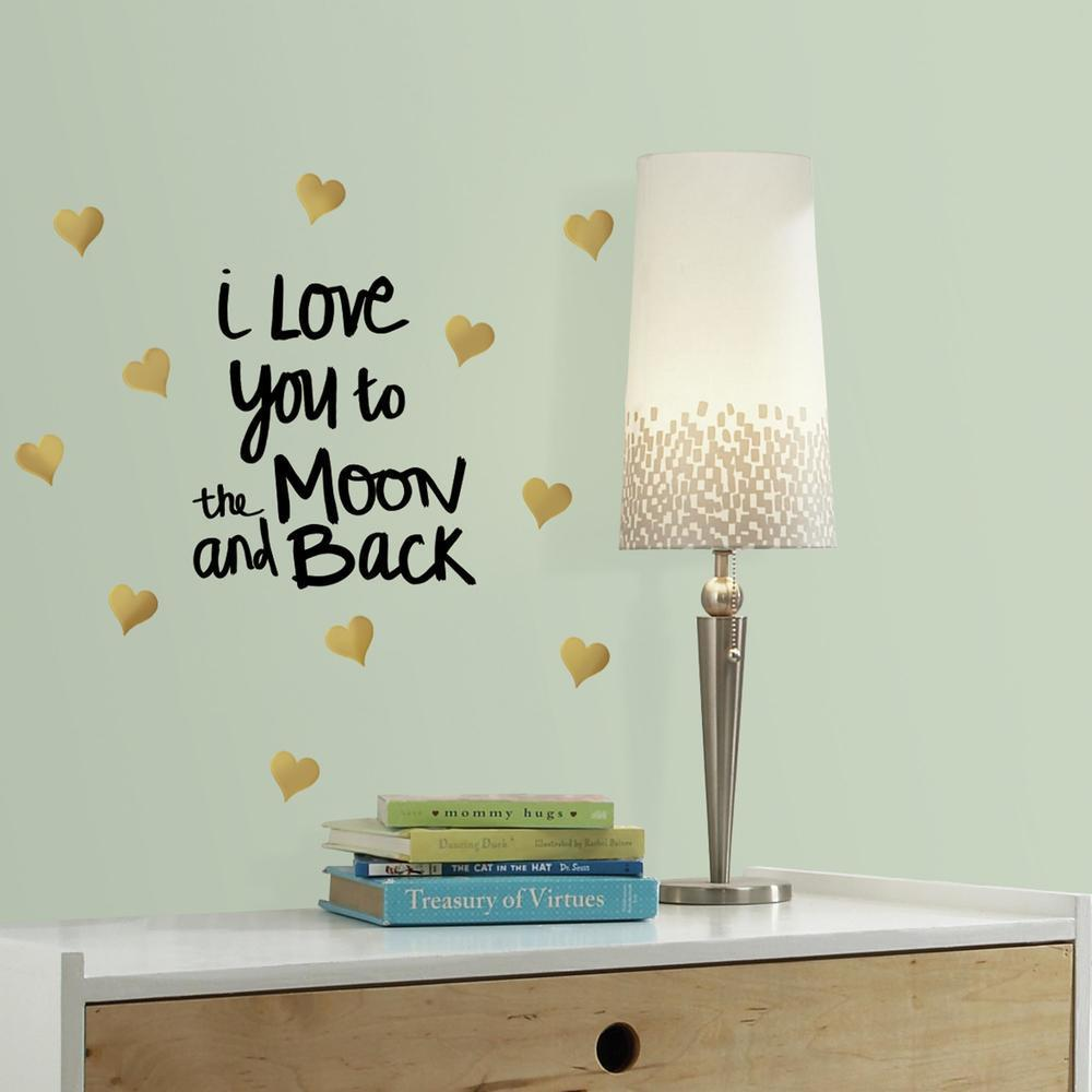 Love You To The Moon Quote Wall Decals With Foil perfect for kids bedrooms