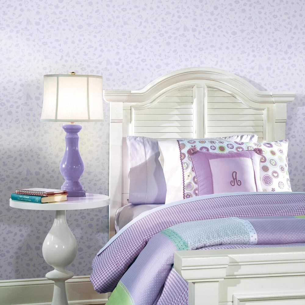 Purple  Disney Princess Icons Peel and Stick Wallpaper with Glitter. Great for bedrooms and other living spaces