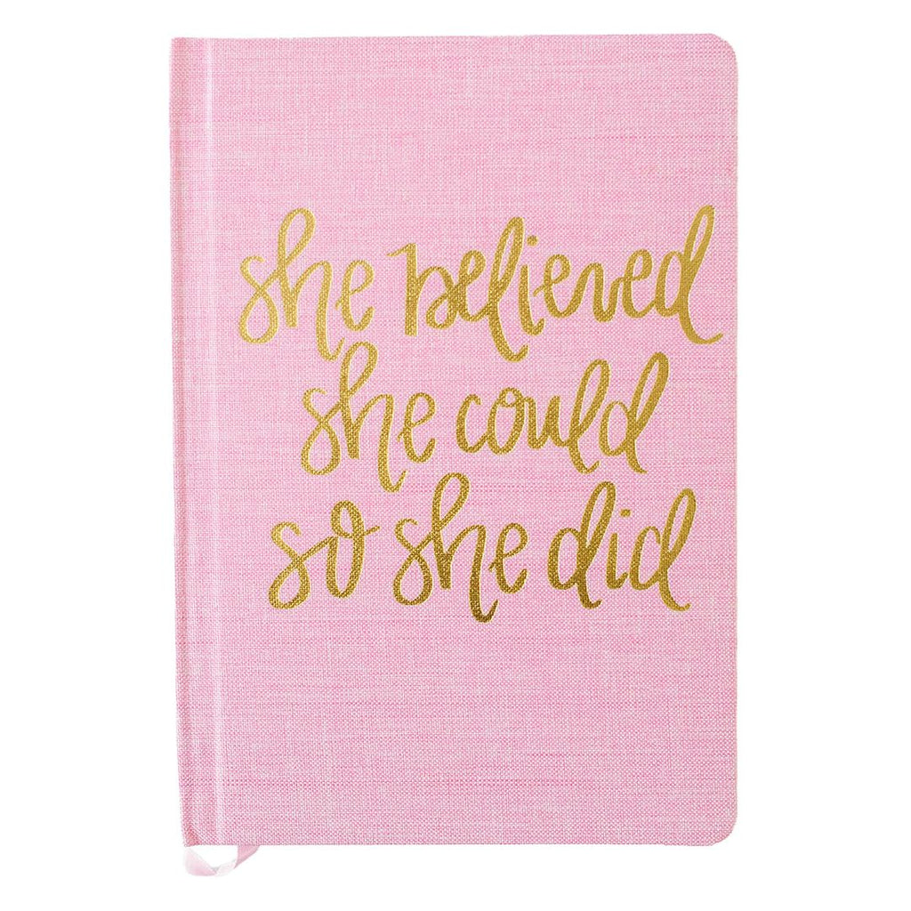 She Believed She Could So She Did Hand lettered Pink and Gold Journal
