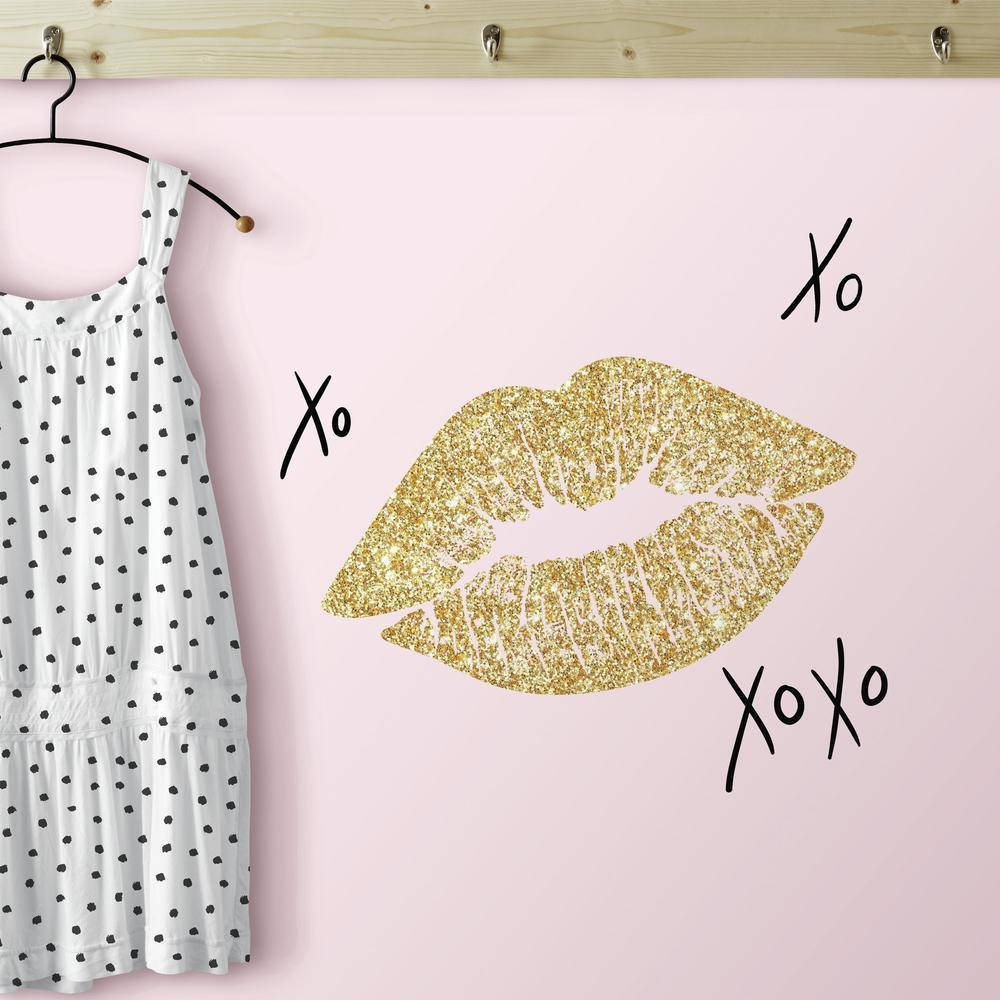 XOXO Lip Peel and Stick Wall Decals with Glitter