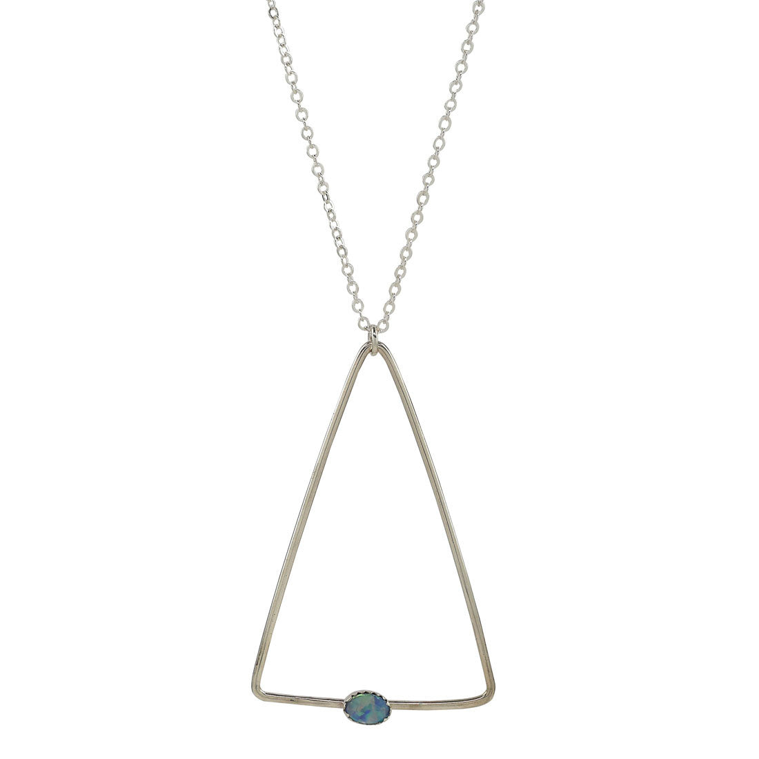 Opal Triangle Necklace - Celebrity Coachella Jewelry
