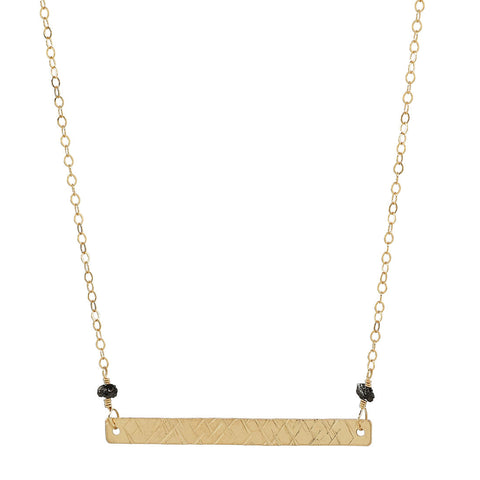 Gold Bar & Diamond Necklace