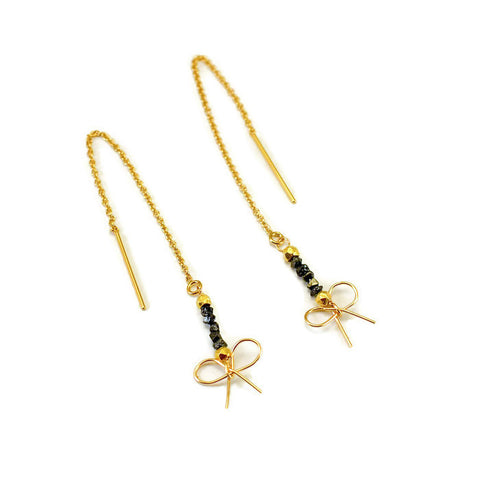 14kt Gold Diamond Bow Earrings