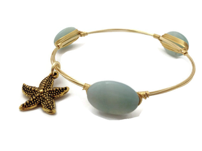 Amazonite & Starfish Bangle Bracelet