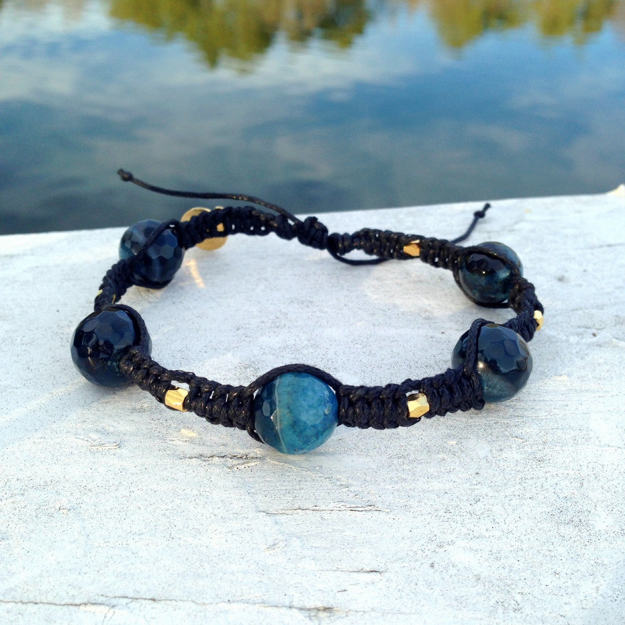 Navy Agate Men's Bracelet