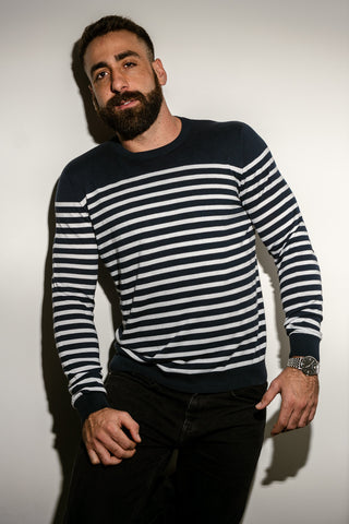 Andres wearing the first sample of the Pull Marin (Breton Jumper)