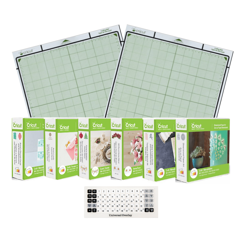 6 Cricut® Cartridges Bundle w/ 2 12x12 Cutting Mats & Universal Overlay