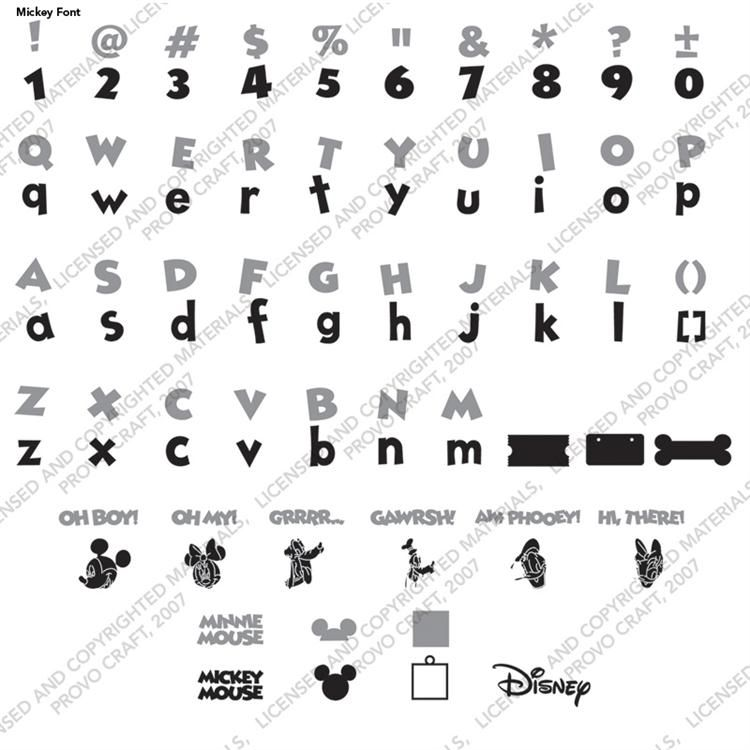 Disney Mickey Font Cricut Cartridge