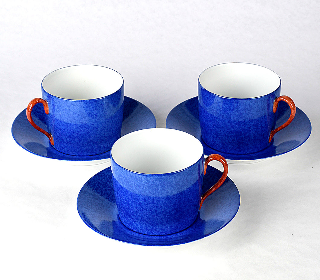Les Mouchetes Breakfast Cups and Saucers - Blue