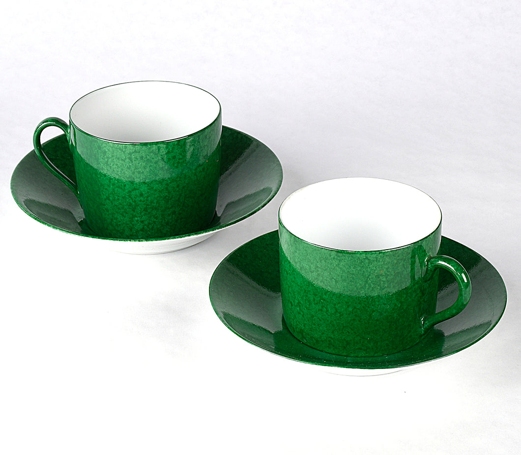 Les Mouchetes Breakfast Cups and Saucers – Green