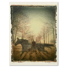 Load image into Gallery viewer, Unframed digital archival print of a book cover image created for the novel IN THE PRESENCE OF HORSES by Barbara Dimmick.