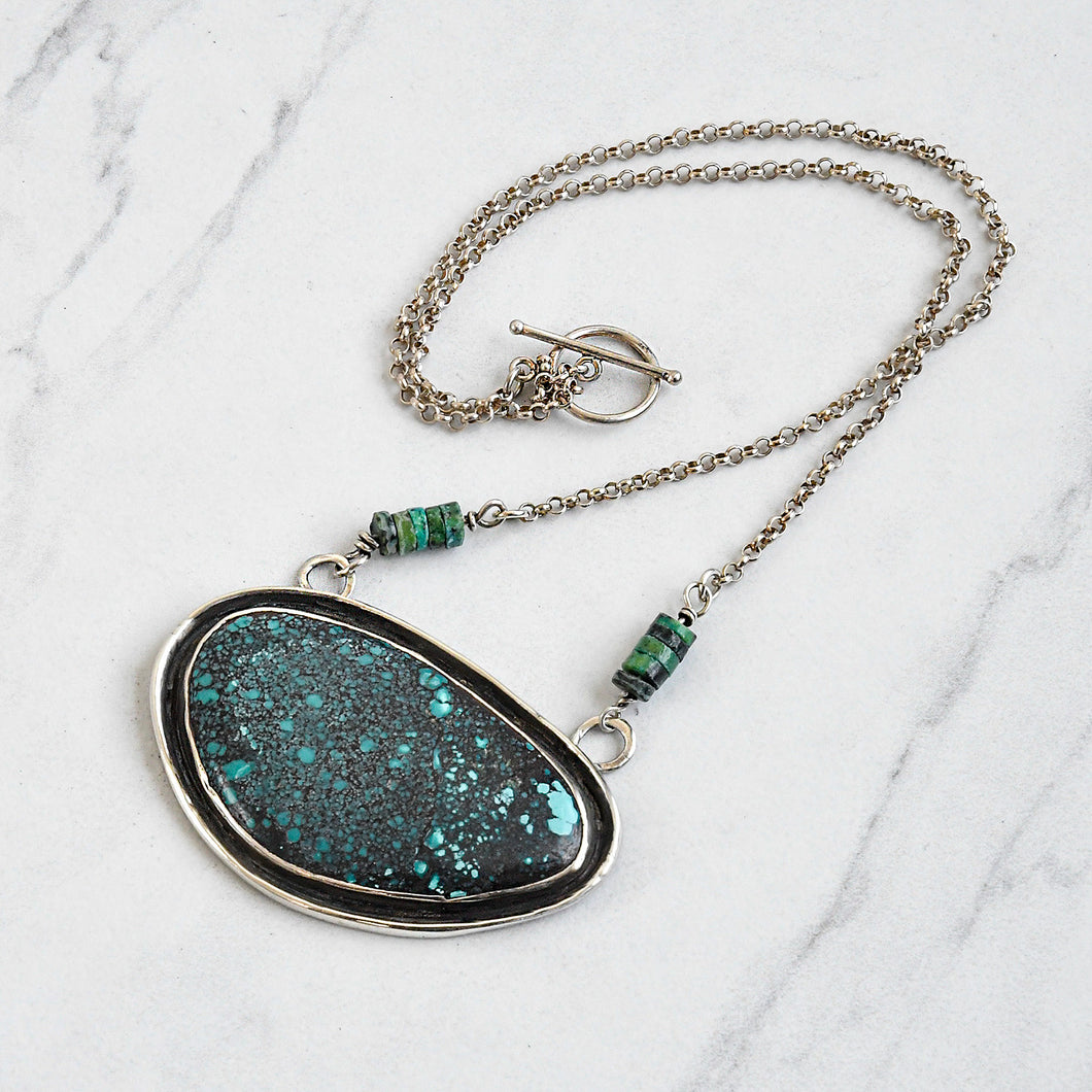 Large Turquoise Pendant Necklace in Sterling Silver