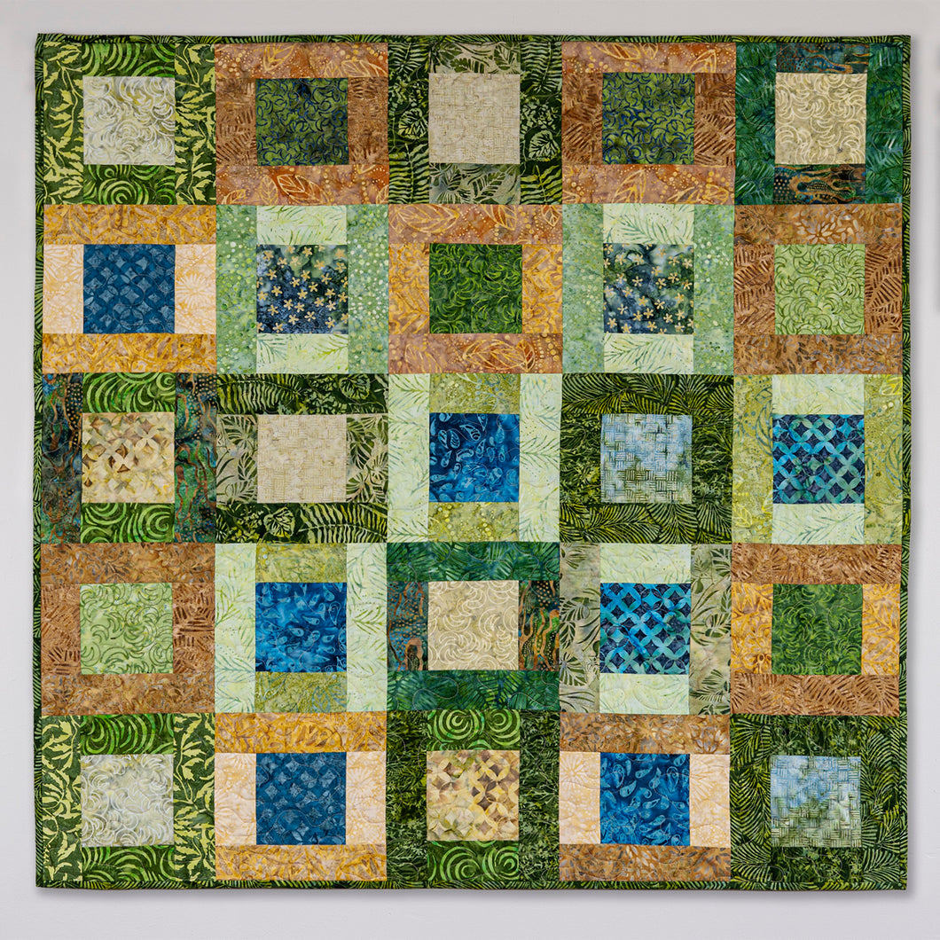Modern Square Blocks 2 quilted wall hanging
