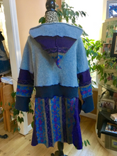 Load image into Gallery viewer, Dusty Blues + Purple Jewel Tone Swing Coat