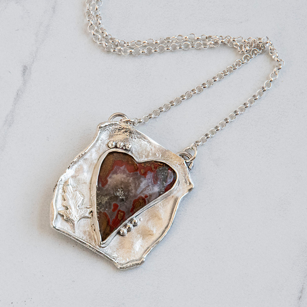 Agate Heart Necklace in Recycled Sterling Silver Handmade
