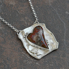 Load image into Gallery viewer, Agate Heart Necklace in Recycled Sterling Silver Handmade