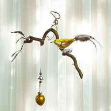 Load image into Gallery viewer, Yellow Bird With Feather Tail and Gold Walnut