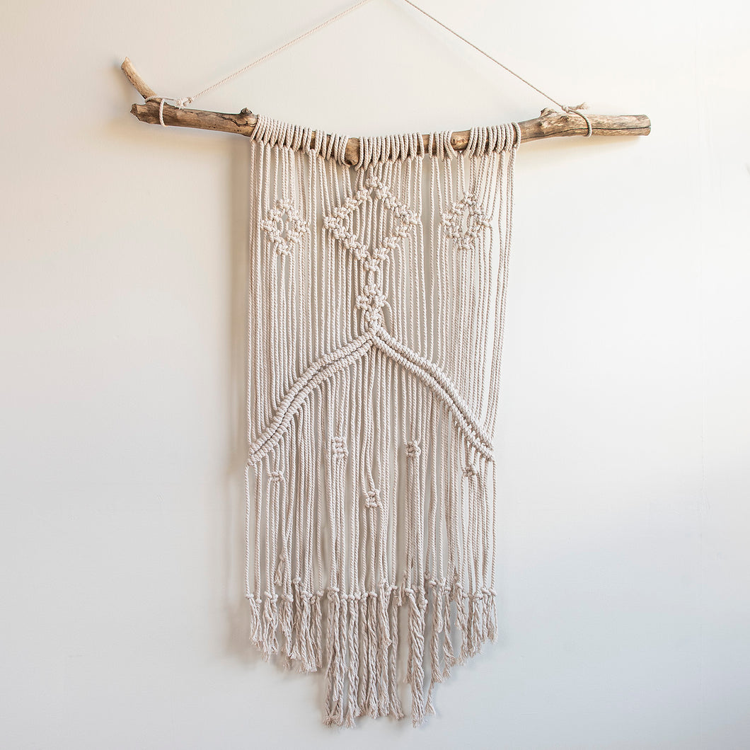 Large Macramé Wall Hanging on a Tree Branch