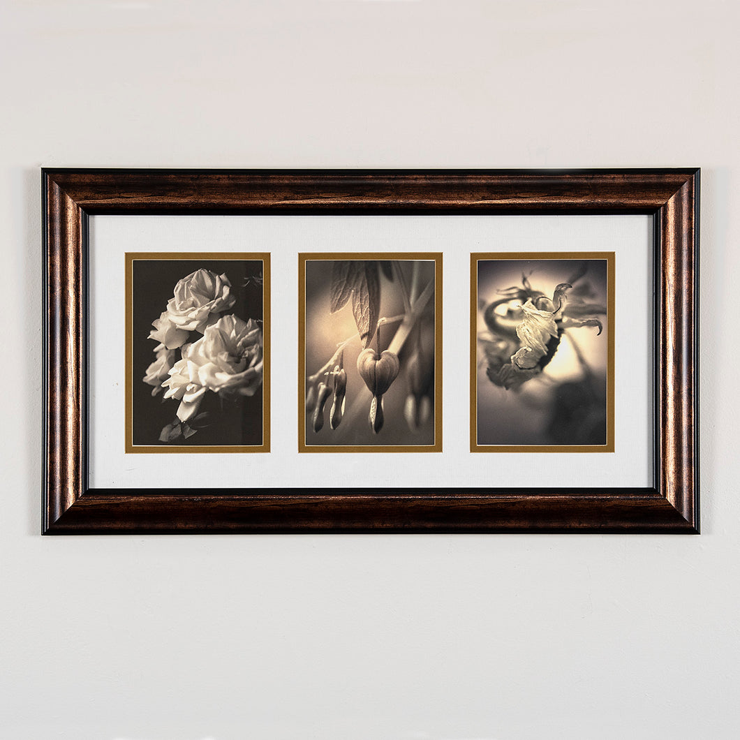 Framed digital archival print - Floral Triptych on fine art paper