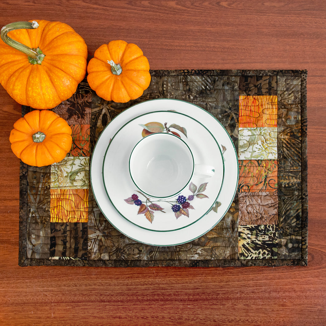 Fall Color batik placemats #1 (set of 4)