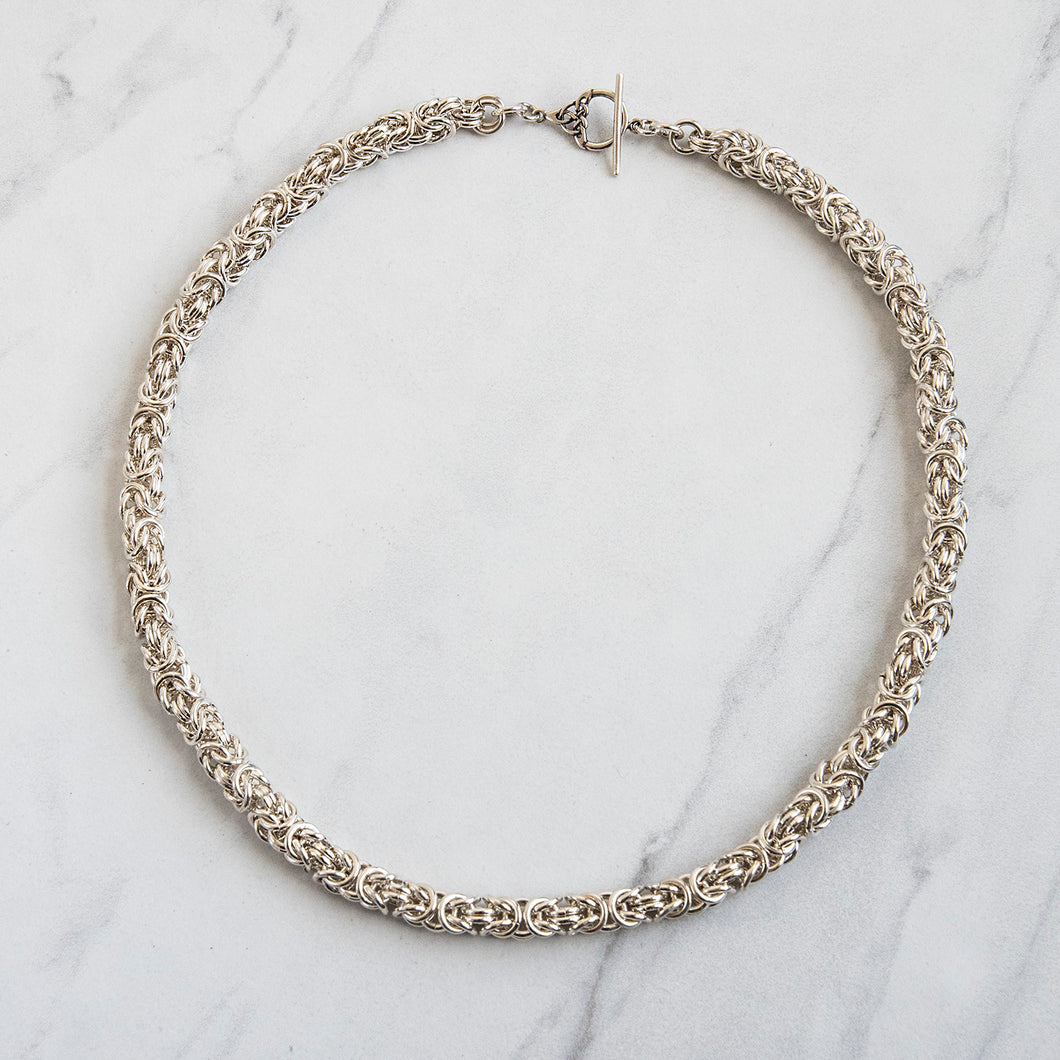 Sterling Silver Byzantine Chain-Maille Necklace, Handmade
