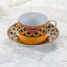 Load image into Gallery viewer, Grenade With Blue Crosses by Laure Japy-Lamoges-Paris.  Cup and Saucer