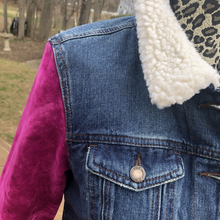 Load image into Gallery viewer, Fuchsia Crushed Velvet Bells Sherpa Deep Blue Denim Jacket