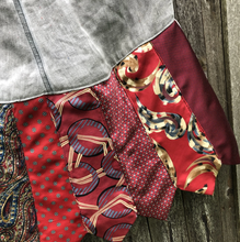 Load image into Gallery viewer, Bold Reds + Dusty Gray Linen Skirt