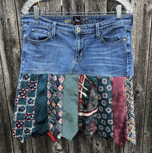Load image into Gallery viewer, Multi Colored Tie + Denim Skirt