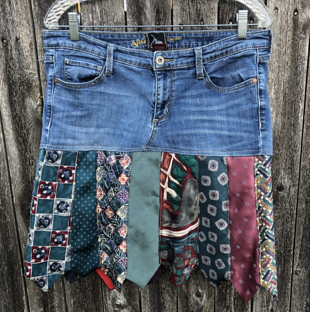 Multi Colored Tie + Denim Skirt
