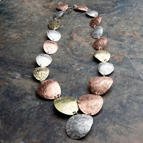 Statement Necklace in Sterling Silver, Copper, and Brass
