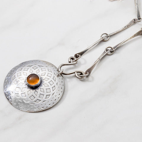 Geometric Pendant with Amber and Sterling Silver