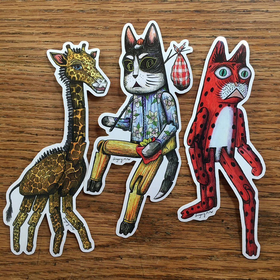 Hinged Animals Vinyl Sticker 3 Pack