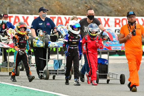 Walking to the grid, with the pit crew (parents)