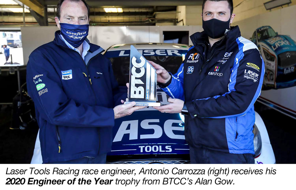 Laser Tools Racing's Antonio Carrozza receiving his award for Engineer of the Year 2020