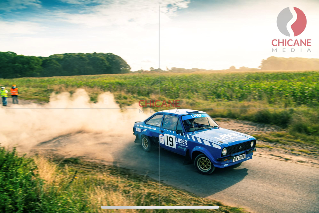 Laser Tools Racing Rally Car on stage - photo courtesy of Chicane Media