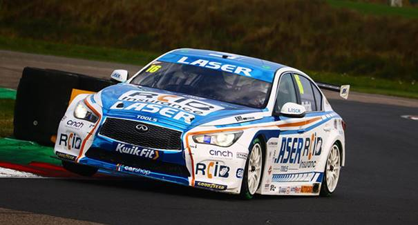 Aiden Moffat driving the Laser Tools Racing Infinity Q50 at Thruxton