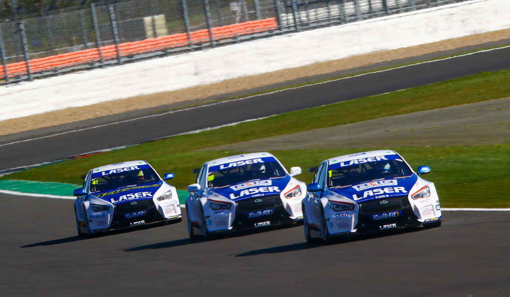 The 3 Infinity Q50s running on the Silverstone short circuit.