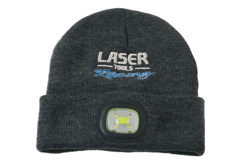 Laser Tools Racing Beanie Hat with Front/Rear Rechargeable Lights