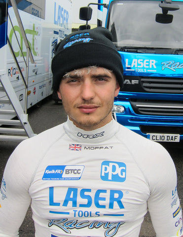 Laser Tools Racing Driver Aiden Moffat wearing the Laser Tools Racing Beanie Hat